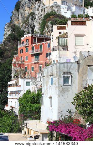 Capri island in beautiful summer day in Mediterranean Sea Coast, Naples, Italy.