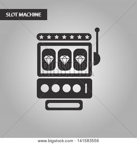 black and white style casino slot machine, vector