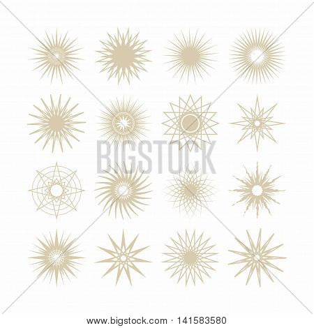 Line and silhouette geometrical poly gram beige stars icons set on white background