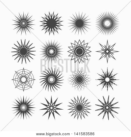 Line and silhouette geometrical poly gram black stars icons set on white background