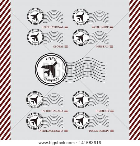 Shipping and air transport service white circle stamps set with plane icon wavy lines on gray background and red and white stripes pattern sides