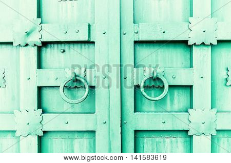 Metal light green aged textured door with rings door handles and metal details in form of stylized flowers. Metal architecture background. Vintage filter applied