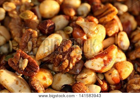 Mixed nuts honey and spices added together to make this crunchy delicious nutty feast