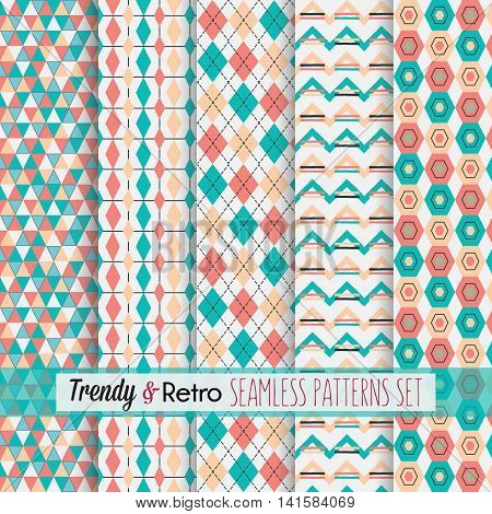 Set of five red and teal trendy modern and retro patterns