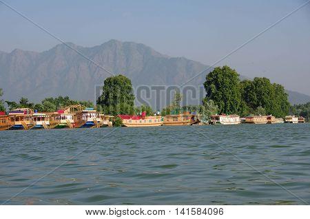 Houseboats on Nagin lake in Srinagar in Kashmir, India