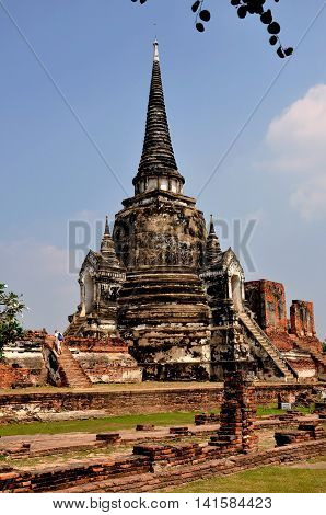 Ayutthaya Thailand - December 20 2010: One of the three royal tomb bell-shaped Chedis with doorways reached by a flight of steep stairs at Wat Phra Si Sanphet