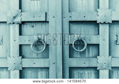 Metal grey aged textured door with rings door handles and metal details in form of stylized flowers. Metal architecture background.