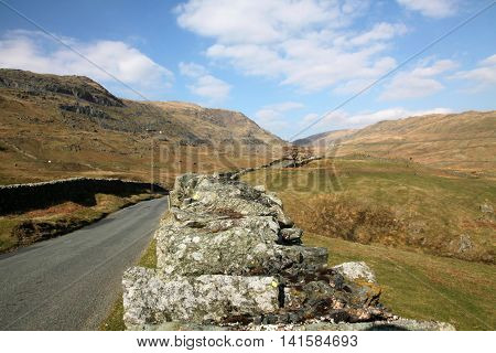 A sunny day in March at the approach to Kirkstone pass