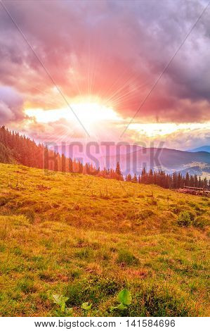 Picturesque Carpathian mountains landscape scenery of sunset. Ukraine Europe