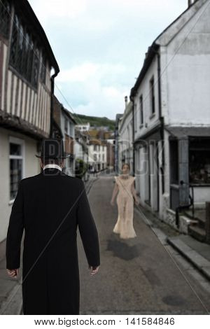 Victorian man waiting for bride in the town lanes
