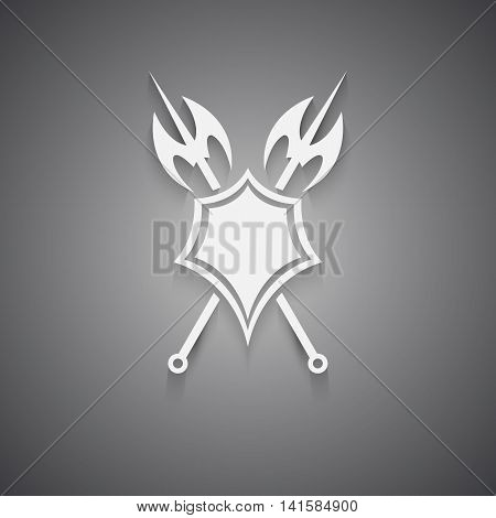 White icon,shield and axe on a black background