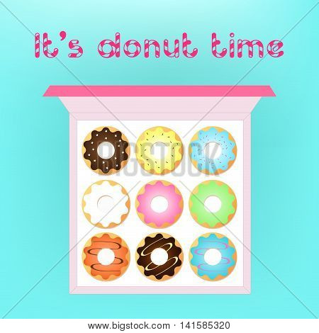 Donut vector set isolated on a light background in a modern flat style. Donuts into the glaze collection. Isolated sweet sugar icing donuts.