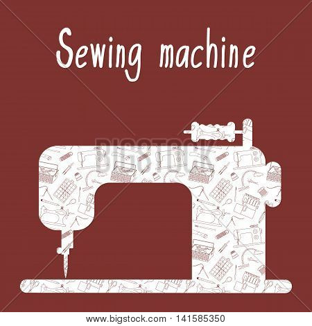Sewing machine with the background of the sewing tools and tailoring accessories. Vector illustration.