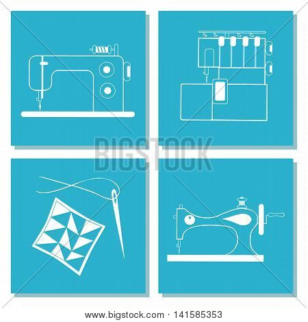 Set of cards with sewing machine needle. The white line on blue background. Stock vector illustrations of objects for tailoring handicraft hand made. It can be used for packaging textile label emblem.