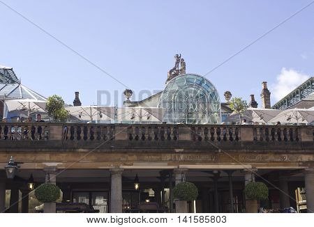 LONDON, UNITED KINGDOM - SEPTEMBER 12 2015: Brasserie Blanc in London Covent Garden rooftop bai in the city centre