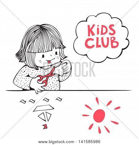 Illustration on the theme of kids club. Little girl is cutting paper with scissors. Hand-drawn illustration. Vector.