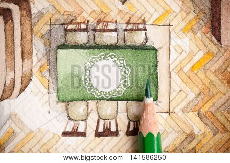 Cute shot of sharp glazed wooden pencil over watercolor floor plan illustration showing classic table with six chairs, lace tablecloth and parquet flooring