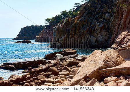 Rocky seaside of Punta Brava. Catalonia Spain