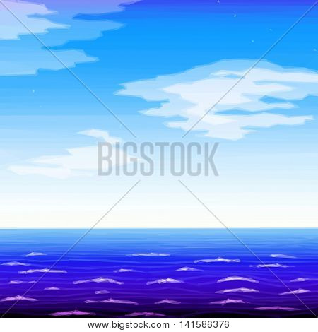 Landscape Background, Sea and Blue Sky with White Clouds. Low Poly Illustration. Vector