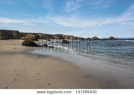 Sand beach along the coast of Fort Bragg, California