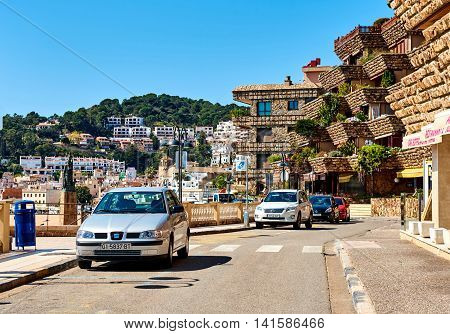 Tossa de Mar Spain - April 7 2016: Vila Vella the oldest part of the town of Tossa del Mar Costa Brava Catalonia Spain
