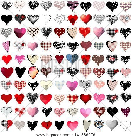 Vector set of 100 hearts for wedding and valentine design