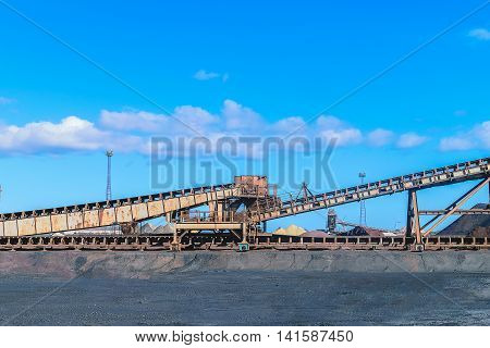 Loading iron ore conveyor machine in steel industry UK