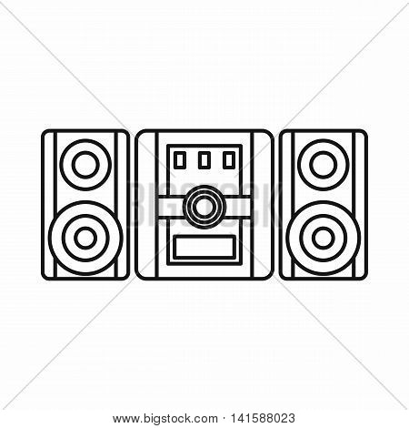 Audio system, music center icon in outline style isolated on white background