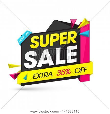 Super Sale with Extra 35% Off, Creative Paper Tag or Banner design on white background, Vector illustration.