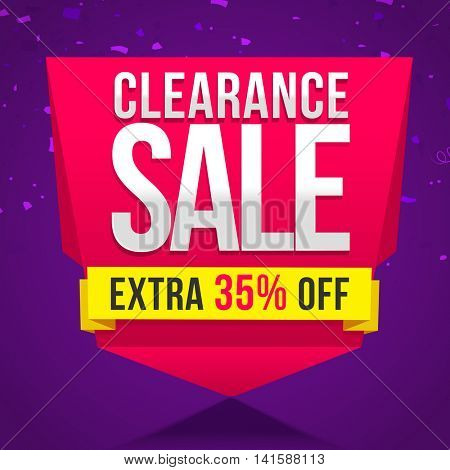 Clearance Sale with Extra 35% Off, Creative Poster, Banner, Flyer or Ribbon design, Vector illustration.