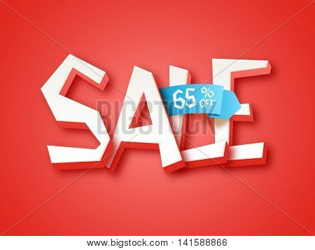 Creative 3D Text Sale, 65% Off, Can be used as Poster, Banner or Flyer design, Vector illustration.