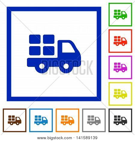 Set of color square framed transport flat icons