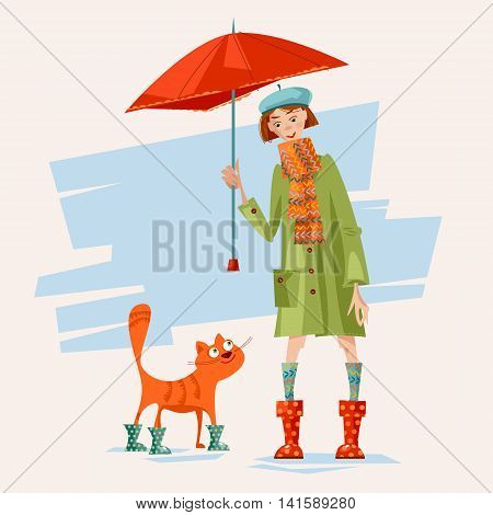 A girl and a cat wearing rain boots and caring an umbrella. Rainy day. Vector illustration