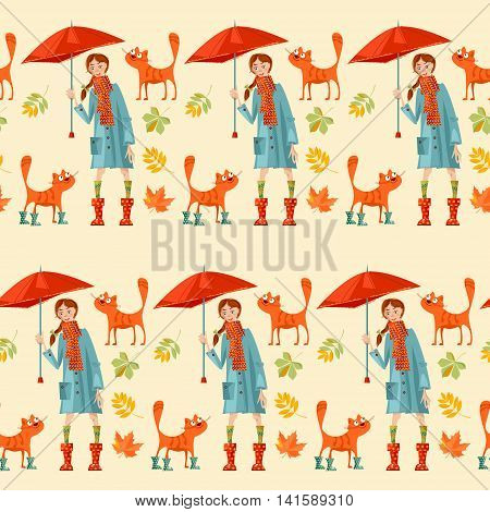 A girl with umbrella and a cat. Hello Autumn! Seamless background pattern. Vector illustration