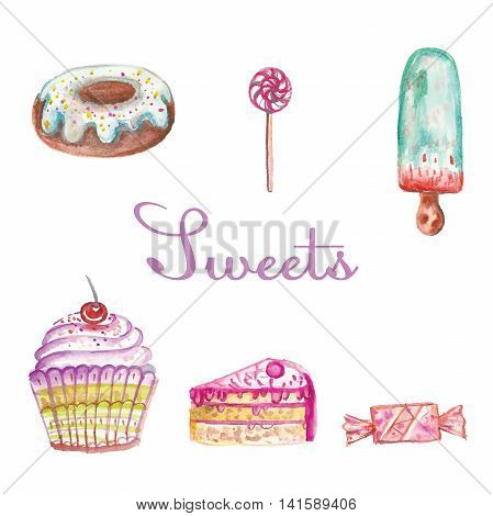 set of different watercolor sweets for dessert