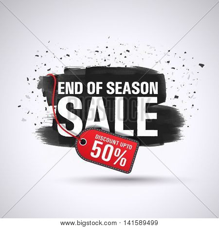 End of Season Sale with Discount upto 50%, Creative abstract background with watercolor brush stroke, Can be used as Poster, Banner or Flyer design.