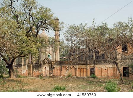 Park with structures of Lucknow Residency built in mughal style in India. Residency took place between 1780 to 1800 served as residence for British Resident General