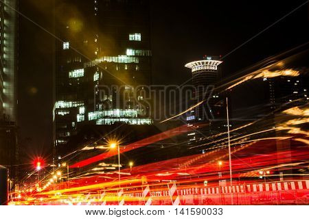 Passing Lights Long Exposure Night Frankfurt Germany Westend Tower Cityscape