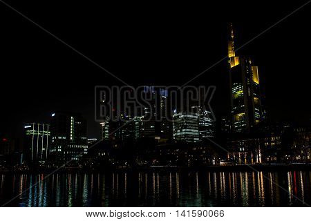 Frankfurt Germany Famous Skyline Reflection on Water Main River