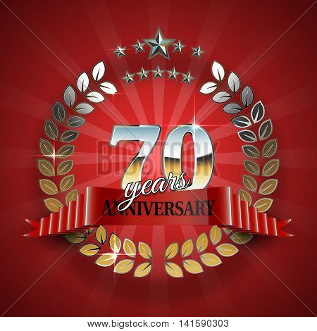Celebrative Golden Frame for 70th Anniversary. Anniversary Ring with Red Ribbon. Anniversary Festive Celebration Emblem. Vector Illustration for Anniversary Celebration Design