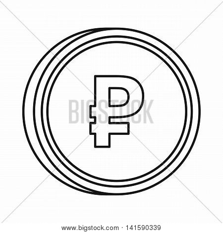 Russian ruble sign icon in outline style isolated on white background