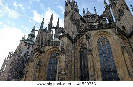 View of St. Vitus Cathedral in Prague on a sky background