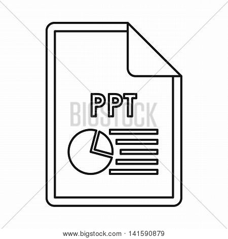 PPT file extension icon icon in outline style isolated on white background