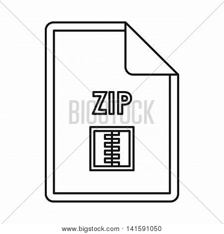 ZIP file archive icon in outline style isolated on white background