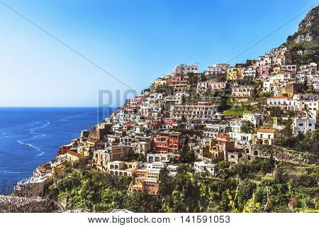 Sea And Town View Of Positano, Amalfi Coast