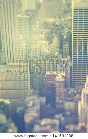 New York city, Manhattan, office buildings, real tilt-shift lens and vintage toned