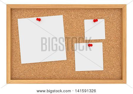 Cork Board With Three Blank Sheets Of Paper Isolated On White Background 3d illustration