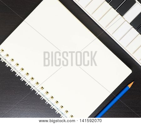 Music Writing on a Blank book. Song writing Blank page in vintage tone