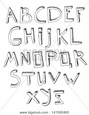Hand drawn vector typeset. Volumetric handmade letters. English alphabet in black color on a white background.