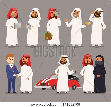 Cartoon illustration of handsome male man traditional religion. National costume dress arab prince man clothing fashion. Arab prince man represent each country art and culture friendly businessman.